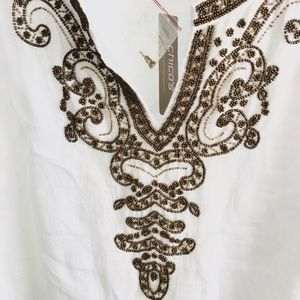 Gold beaded linen tunic